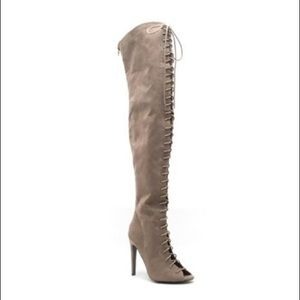Qupid INTEREST TAUPE THIGH HIGH LACE UP BOOTS